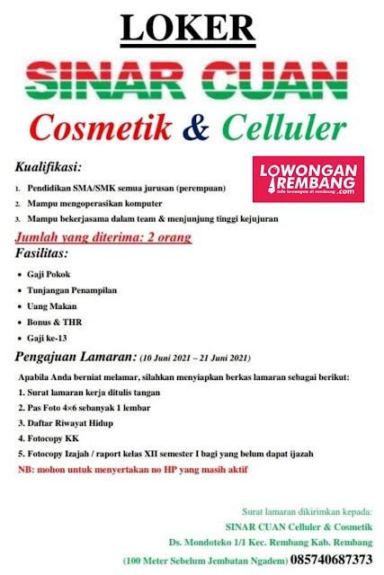 lowongan-kerja-karyawati-sinar-cuan-cosmetik-celluler-rembang
