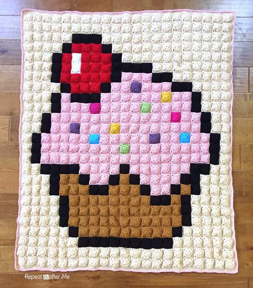 Crochet Cupcake Pixel Blanket Repeat Crafter Me