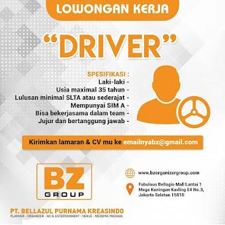 Info Lowongan Kerja Driver PT.Bellazul Purnama Kreasindo Jakarta Selatan
