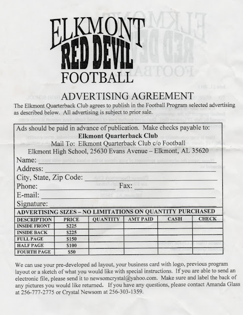 ELKMONT ALABAMA: WANT TO GET AN ELKMONT FOOTBALL PROGRAM AD