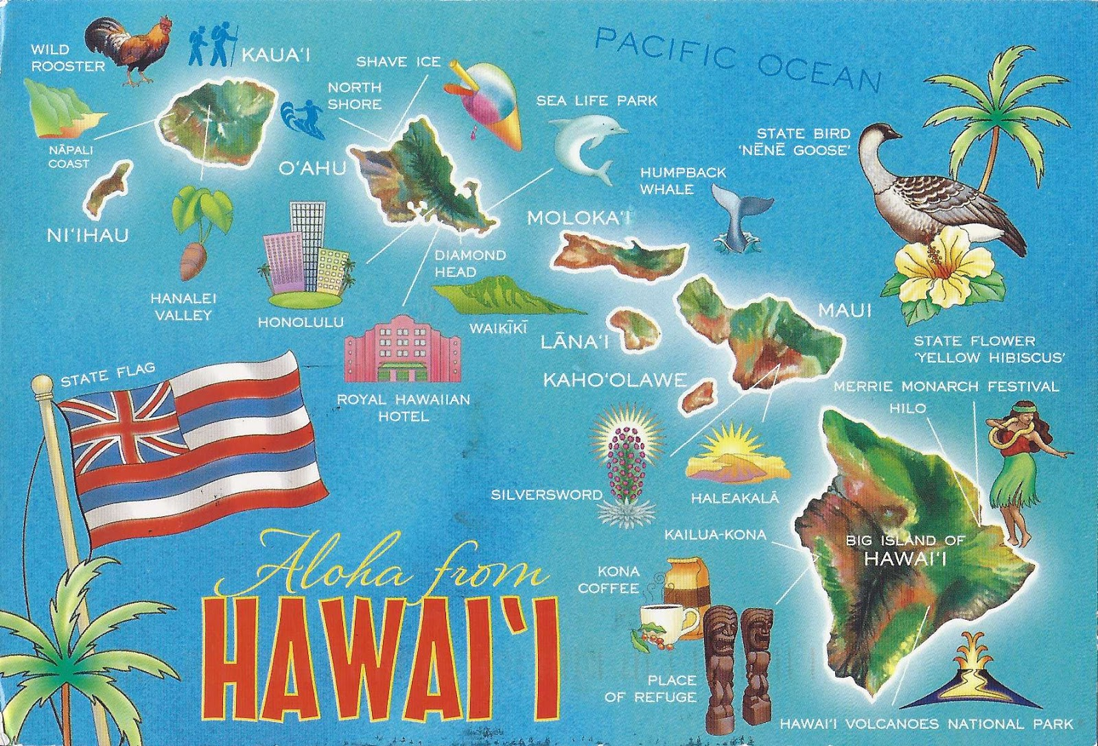 A Journey of Postcards Hawaiian Islands Map USA Hawaii