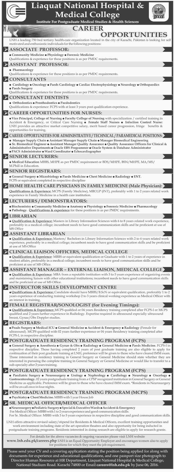 Doctors Jobs in Pakistan Liaquat National Hospital & Medical College