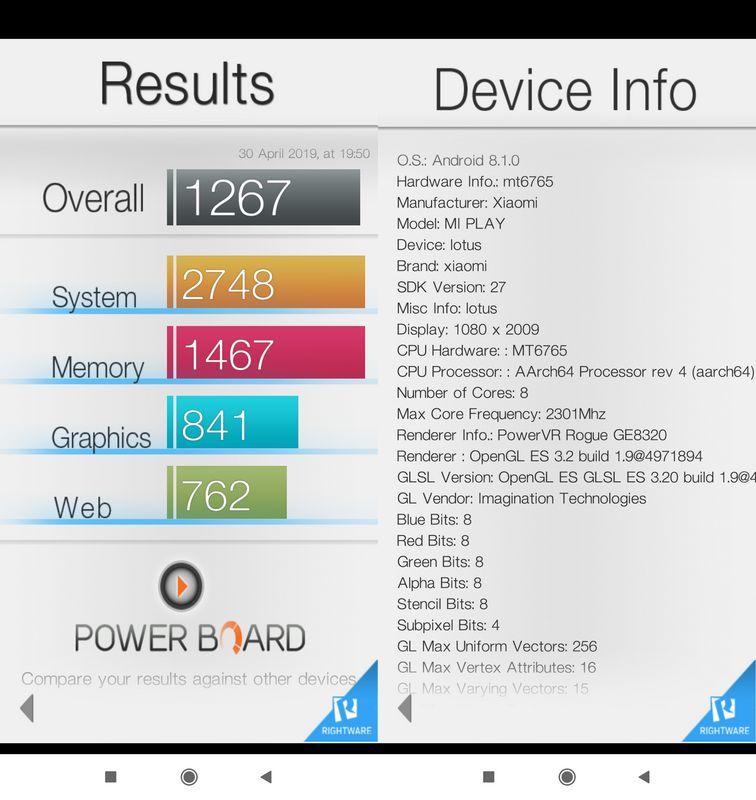 Benchmark Basemark OS II Xiaomi Mi Play