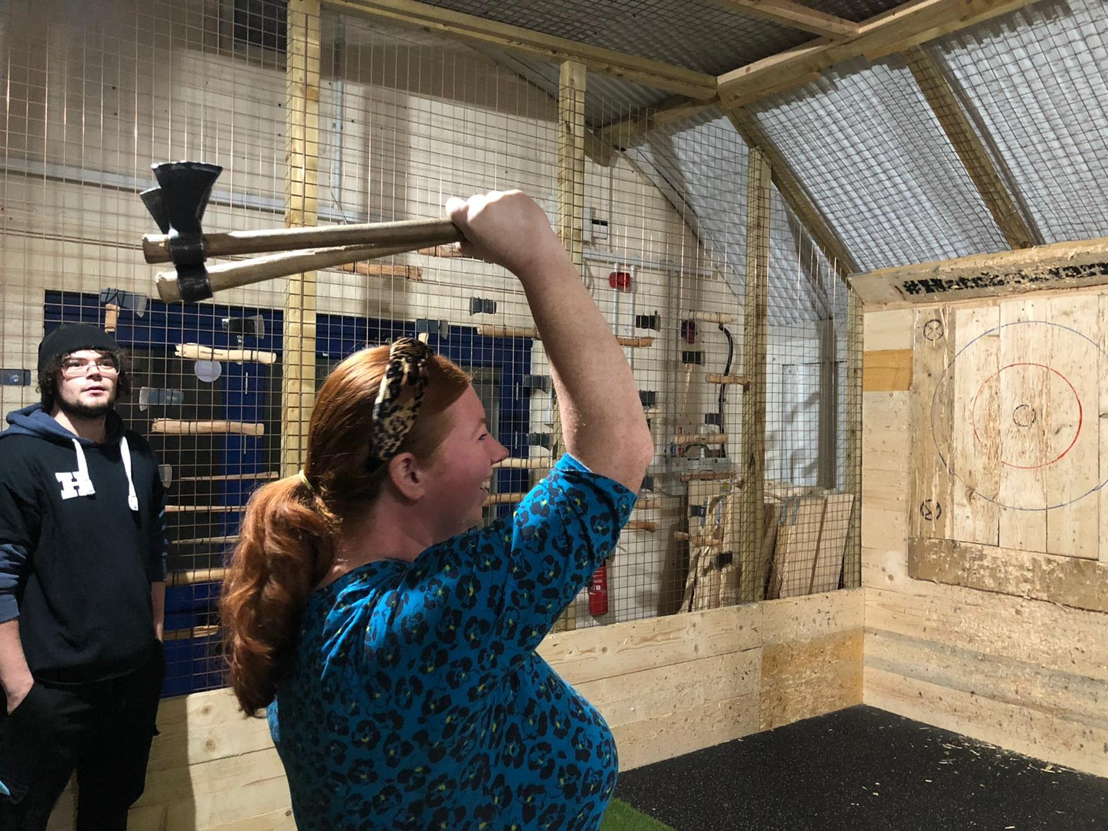 Indoor Axe Throwing in Newcastle at Hatchet Harry's  (Review) - throwing 2 axes