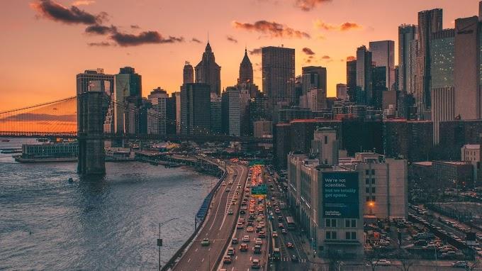 Cidade, Vista Aérea, Mar, Pôr do Sol, Estrada, Carros