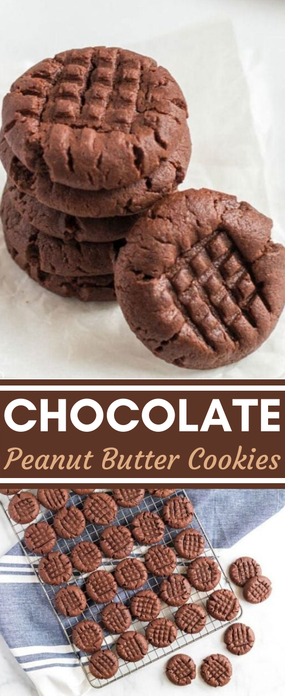 Chocolate Peanut Butter Cookies #easy #cookies #chocolate #dessert #recipes