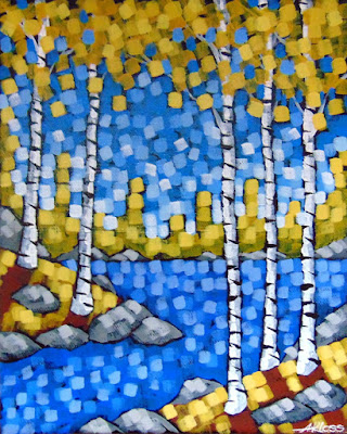 On The Western Skyline by artist aaron kloss, pointillism, wedding, autumn painting