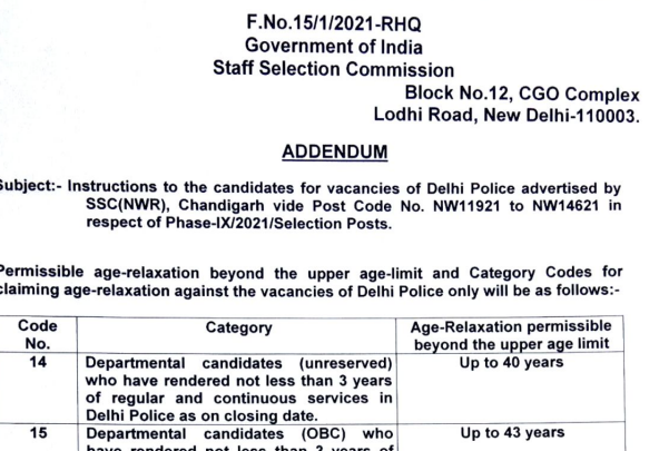 Addendum - Instructions to the candidates for vacancies of Delhi Police advertised by SSC (NWR), Chandigarh vide Post Code No. NW11921 to NW14621 in respect of Phase-IX/2021/Selection Posts.