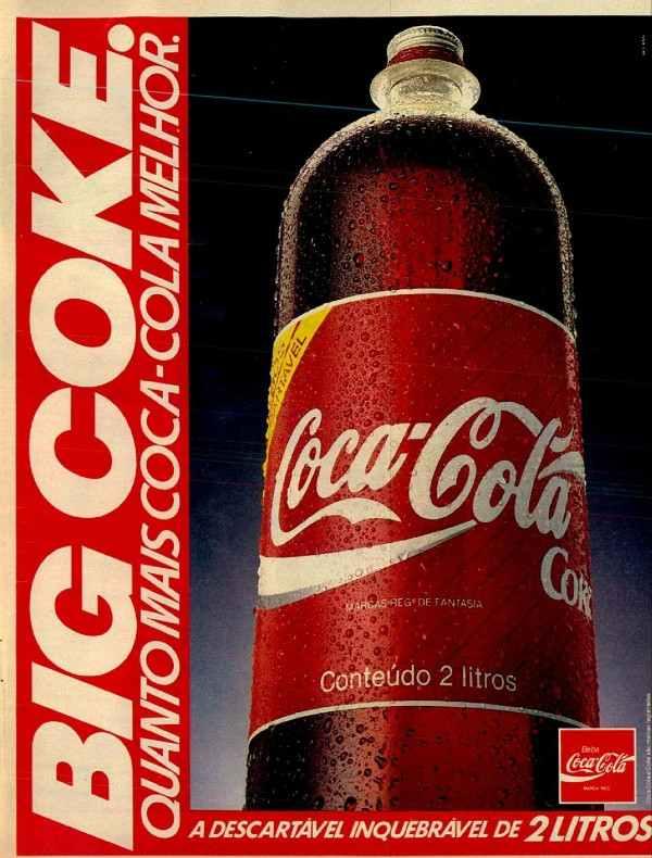 Anúncio antigo da Coca-Cola promovendo a Big Coke em 1989