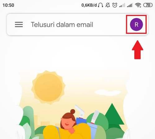 ikon profil di aplikasi Gmail