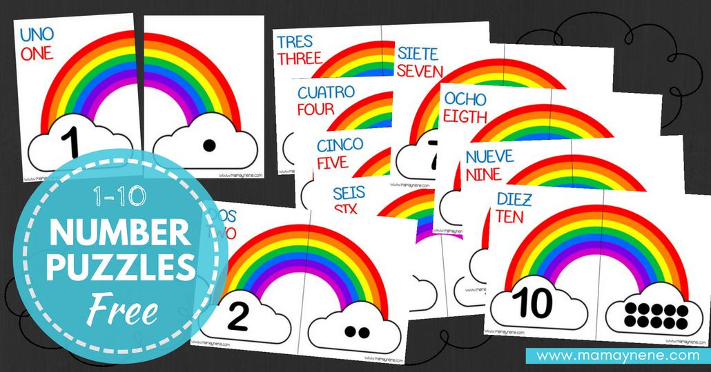 Number Puzzles 1-10 en Español e Inglés