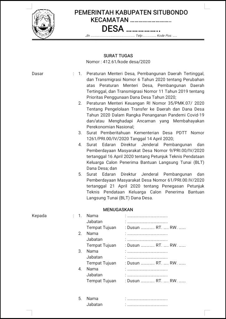 Format surat tugas pendata BLT-Dana Desa