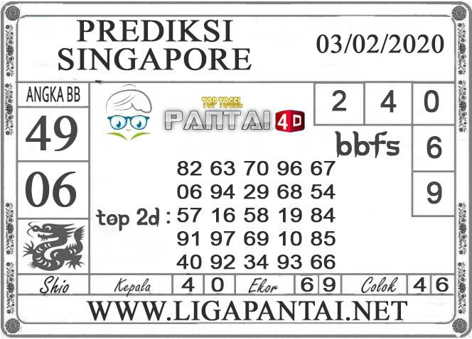 PREDIKSI TOGEL SINGAPORE PANTAI4D 03 FEBRUARI 2020