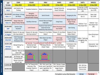 Jadwal BDR Di TVRI Tanggal 9, 10, 11, 12, 13 November 2020