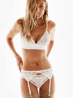 H&M Triangular Lace Bra, Lace Garter Belt, Stay-Ups 20 Denier and Microfiber Thong