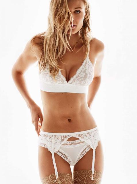 H&M Triangular Lace Bra, Lace Garter Belt, Stay-Ups 20 Denier and Microfiber Thong