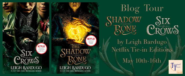 Blog tour banner featuring the two book covers for Shadow and Bone and Six of Crows as well as the title of the tour