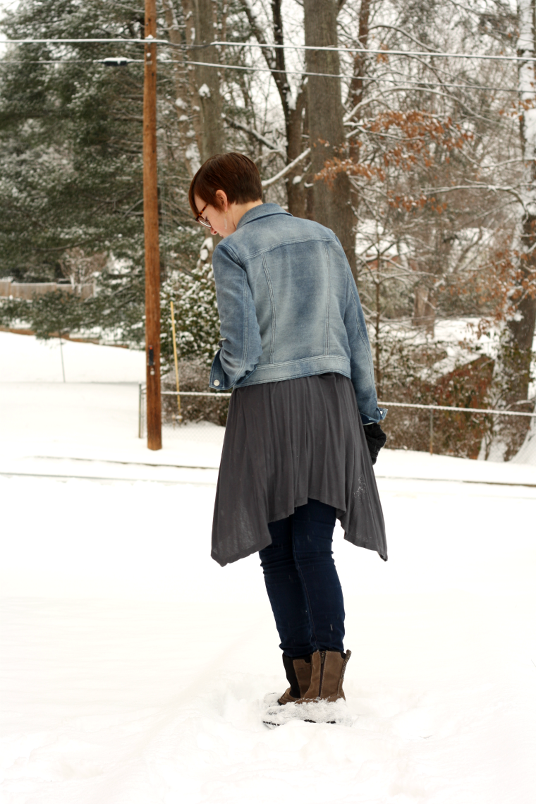 long cardigan and jean jacket layered look