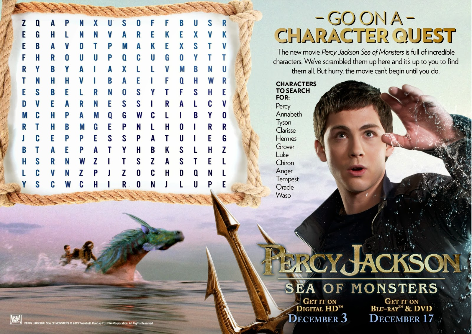 Percy Jackson Sea Of Monsters Holiday T Guide