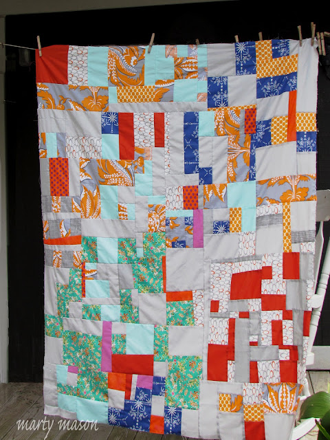 Floating Squares improv patchwork quilt inspired by Sherri Lynn Wood
