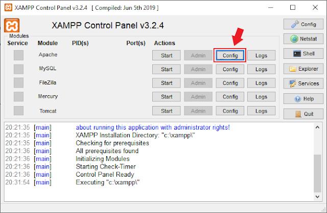 Bouton config de Apache XAMPP