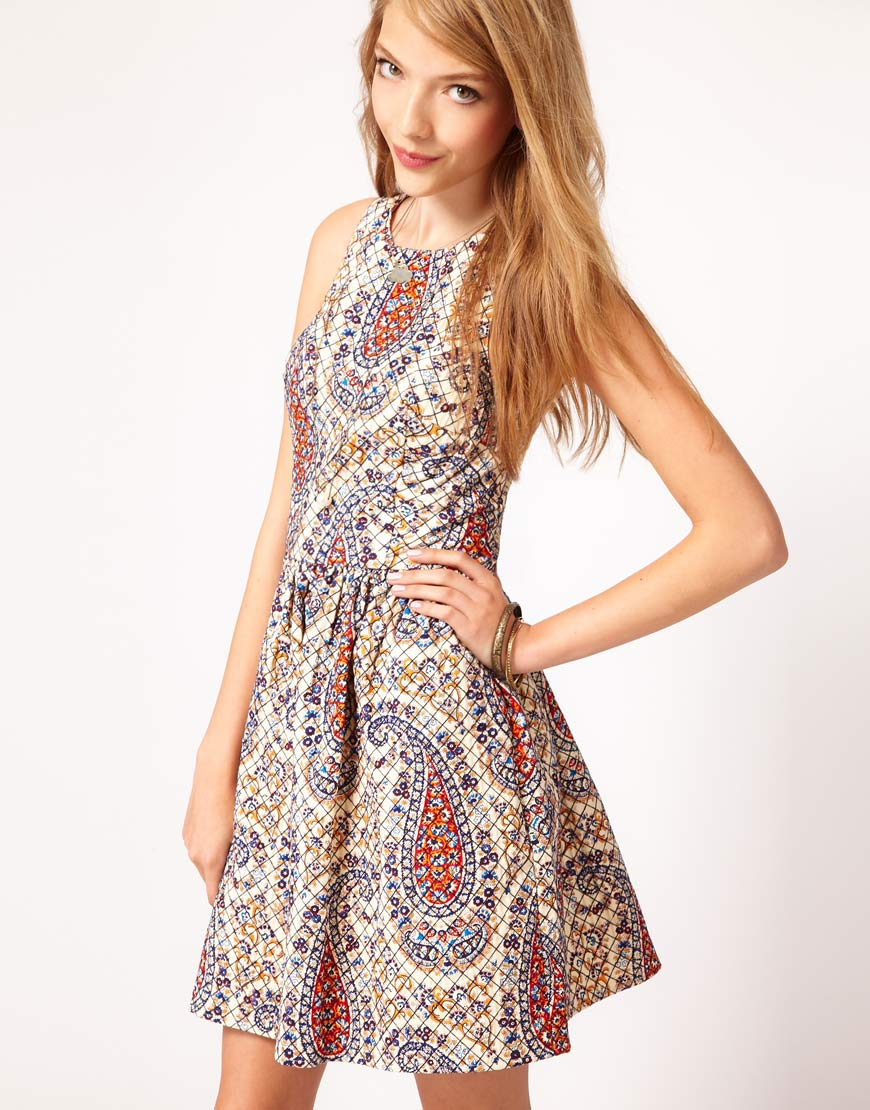 Style Fashion Corner Asos Dress In Quilted Paisley Print
