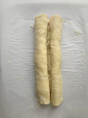 Rolled up puff pastry sheet
