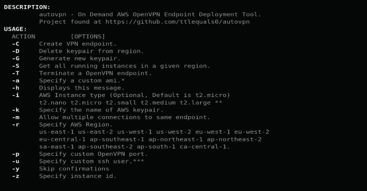 Autovpn : Create On Demand Disposable OpenVPN Endpoints On AWS