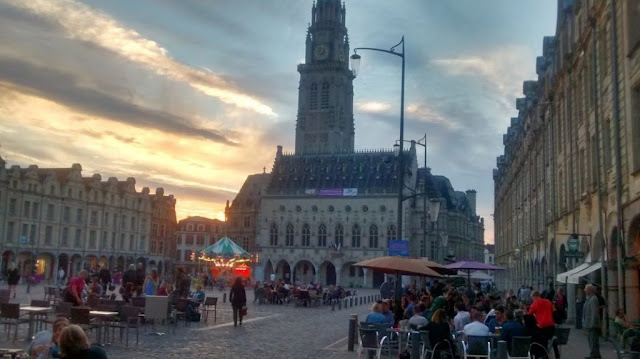 Arras, France, town square at dusk 2015