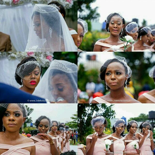 What could be happening here?: Bridesmaids in tears as couple weds
