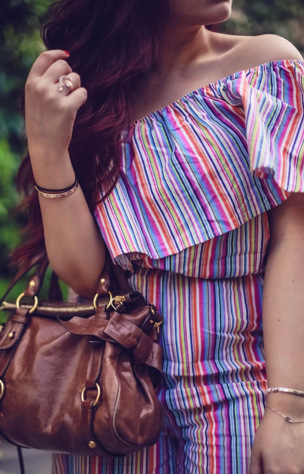 combinaison rayée multicolor