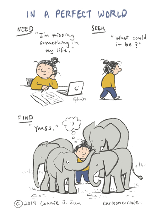 comics, comic strip, journal comics, webcomic, sketchbook, illustration, elephant, connie sun, cartoonconnie