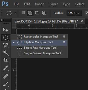cara seleksi dengan elliptical marquee tool photoshop
