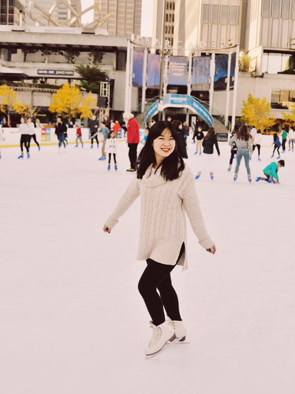 Christmas in San Francisco: glide across the eyes while taking in gorgeous views of the Ferry Building and Bay Bridge at the Holiday Ice Rink at the Embarcadero Center
