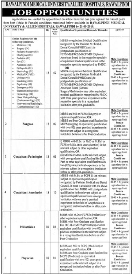 Advertisement for Rawalpindi Medical University Jobs Page No. 1/3