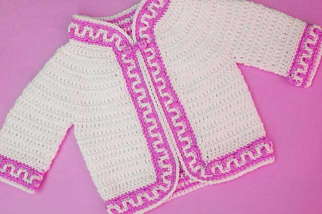 4 - Crochet Imagen Chaqueta a crochet ribeteada con puntada mosaico por Majovel Crochet