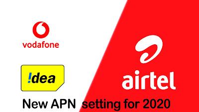 airtel idea vodafone new apn setting