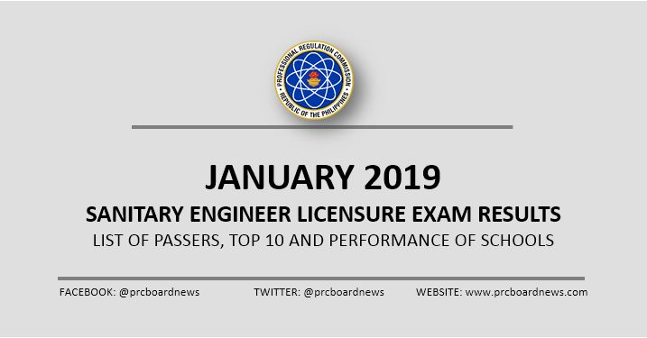 LIST OF PASSERS: January 2019 Sanitary Engineer board exam result