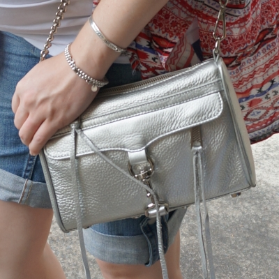 AwayFromTheBlue | Rebecca Minkoff metallic silver mini MAC bag