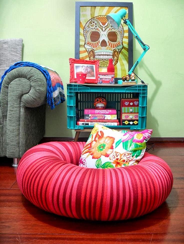 Un diy para hacer un puff con una c mara neum tica y for Ideas para decorar tu hogar reciclando