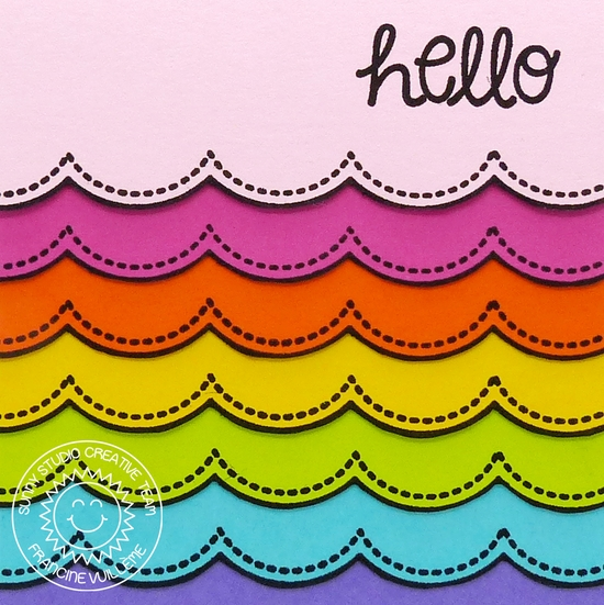 Sunny Studio:  Rainbow Scalloped Card by Francine (using Sunny Borders & Sunny Sentiments)