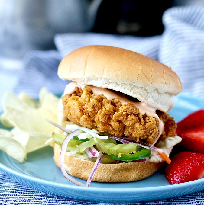 Fried Chicken Sandwich with a Spicy Aioli
