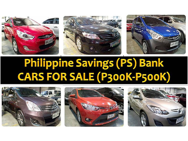 The following are pre-owned or foreclosed cars that are being sold by the Philippine Savings (PS) Bank. The cars are for sale with a price ranges from P300,000 to P500,000.  Contact numbers and information are provided below for inquiries. Please be reminded that we are not affiliated with PS Bank and the details provided below are taken on their website for general information and advertisement purpose only.