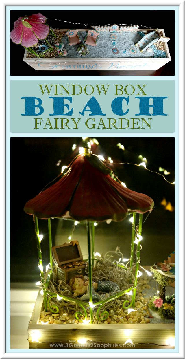 DIY Personalized Window Box Beach Fairy Garden with Fairy Lights  |  3 Garnets & 2 Sapphires