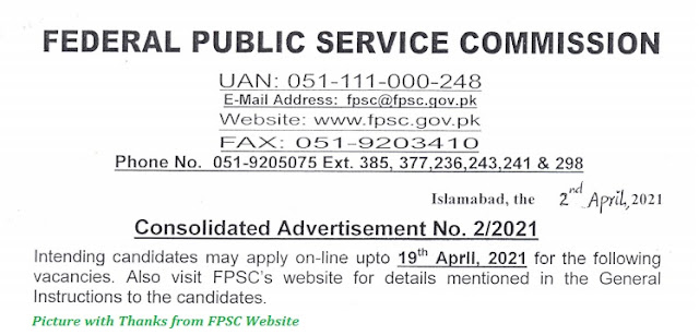 FPSC Jobs 2021 - Latest Federal Public Service Jobs May 2021 Advertisement No. 03/2021 Apply Online