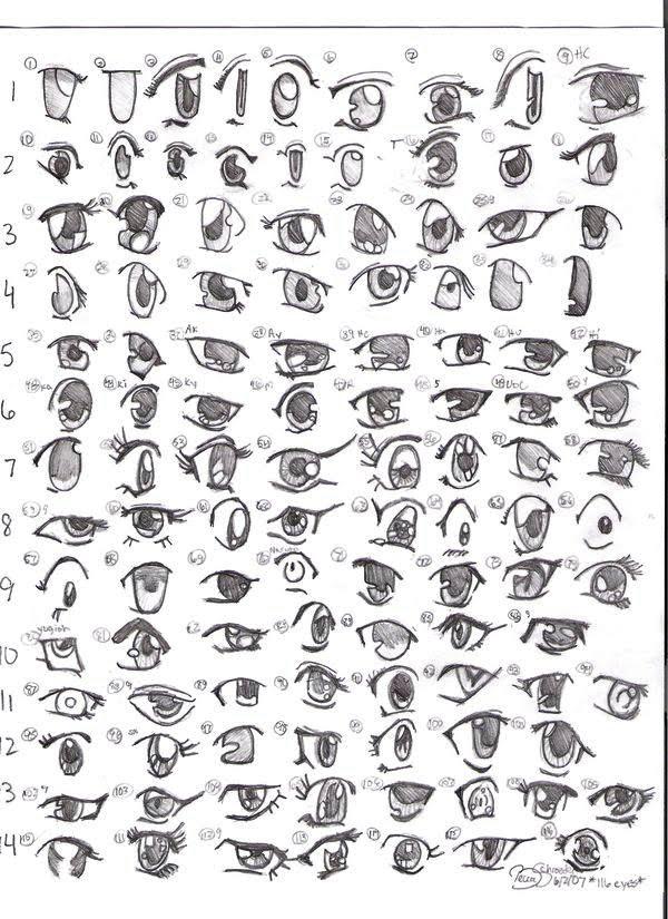 Exemplos de olhos de anime para desenhar ~ Draw ProjecT