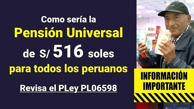 Bono Pensión Universal: 516 Soles