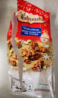 Opened bag of Winternacht Peanut Clusters with Milk Chocolate, from Aldi