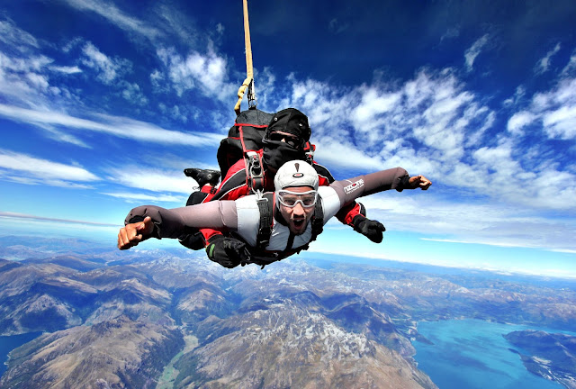 Me, Simon Heyes skydiving in New Zealand, and loving it