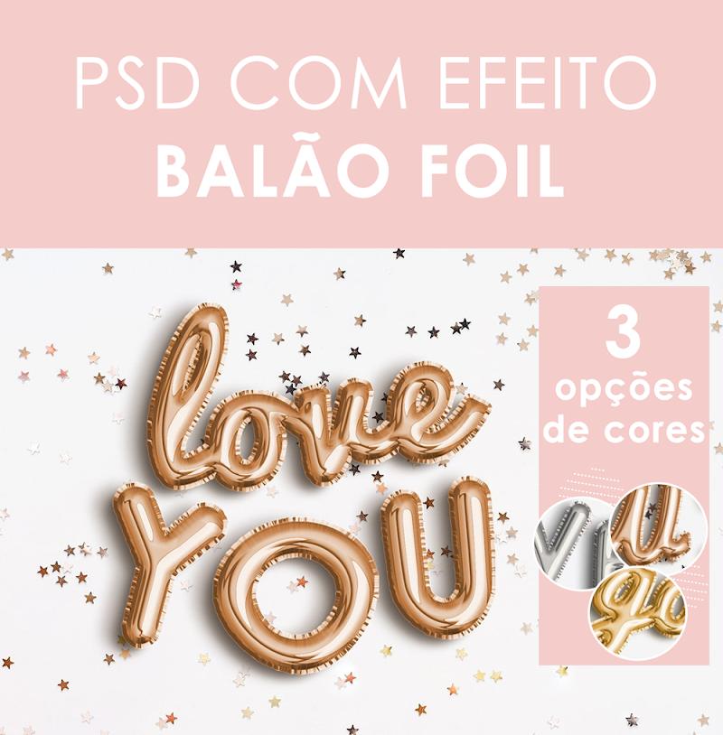 TEXTO COMO EFEITO BALÃO FOIL